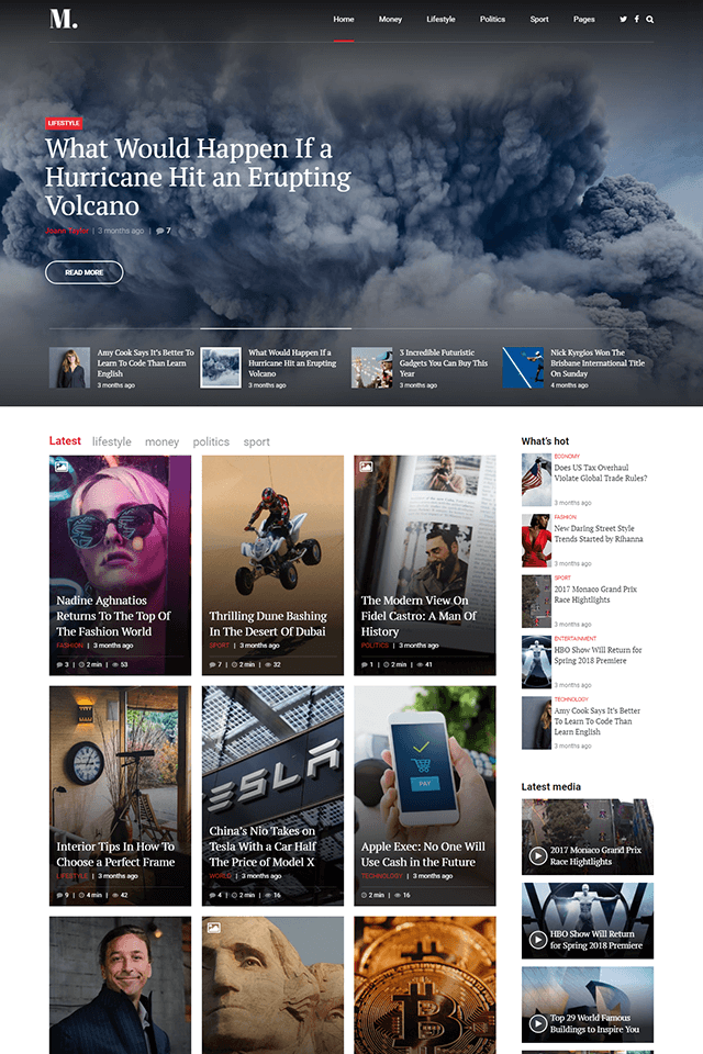 news and magazine wordpress theme NewStar homepage layout magazine
