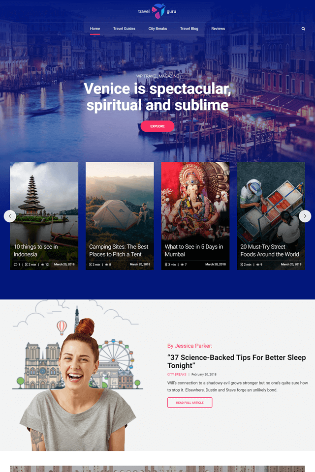 news and magazine wordpress theme NewStar homepage layout travel magazine