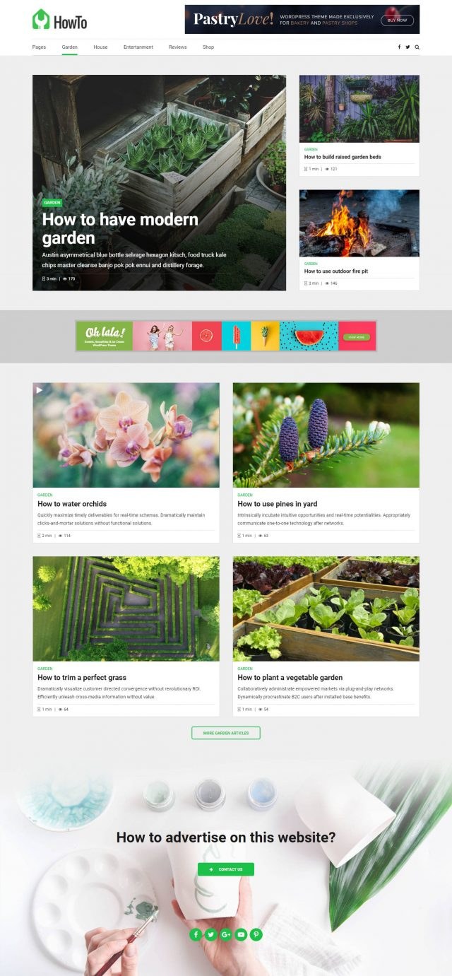 newstar wordpress theme how to page for gardening