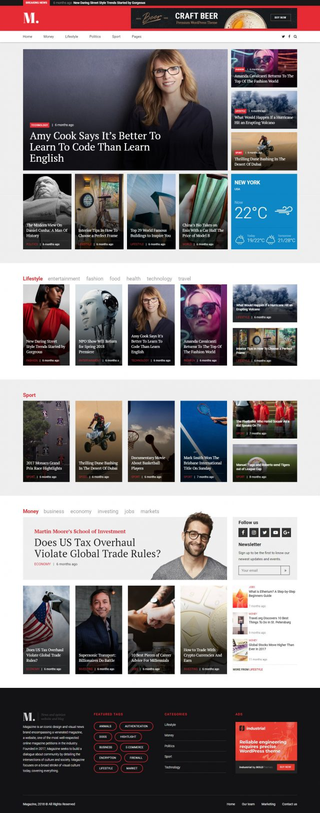 newstar wordpress theme magazine homepage layout 4