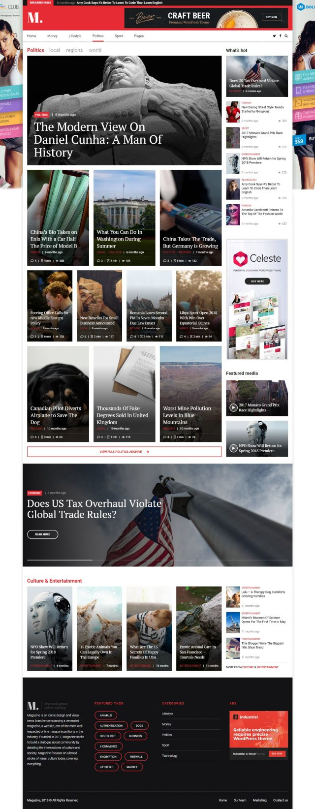 newstar wordpress theme politics magazine homepage layout with banners
