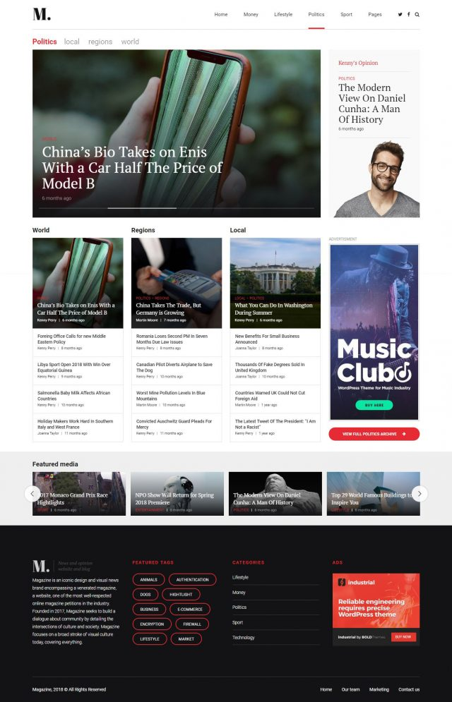 newstar wordpress theme politics magazine homepage layout variation