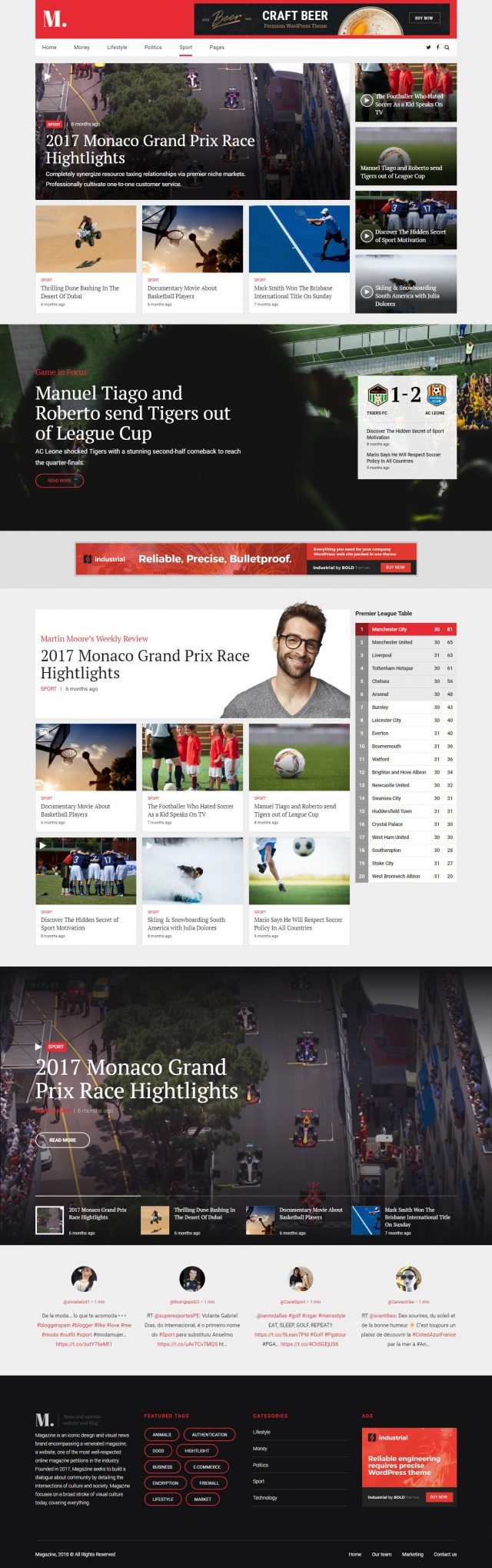 newstar wordpress theme sports magazine homepage layout