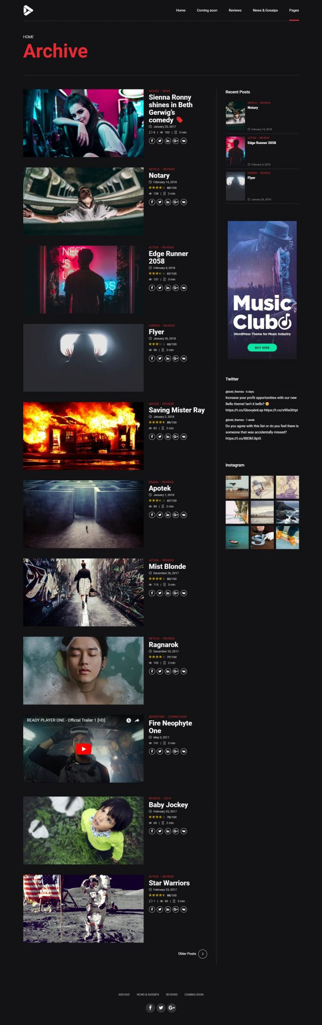 newstar wordpress theme movie reviews archive page