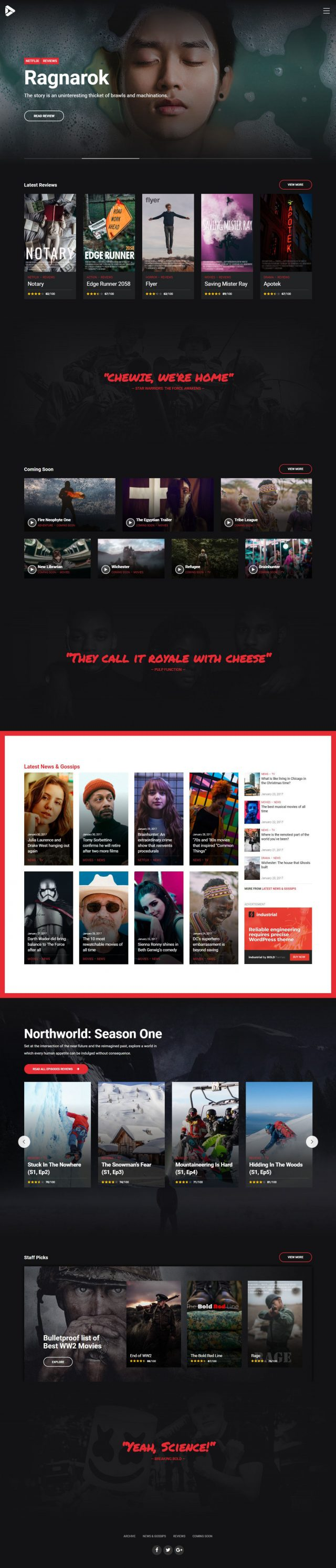 newstar wordpress theme movie reviews homepage