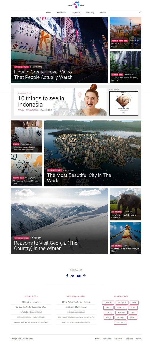 newstar wordpress theme travel city break page 1