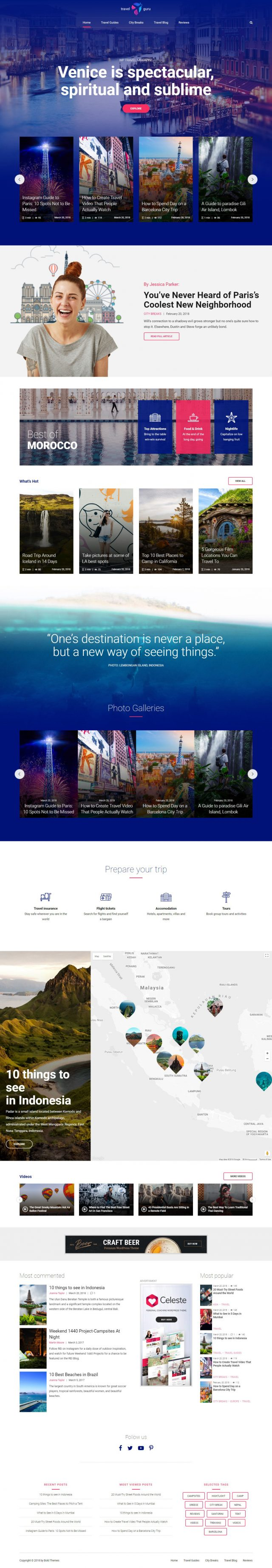 newstar wordpress theme travel magazine homepage layout variant