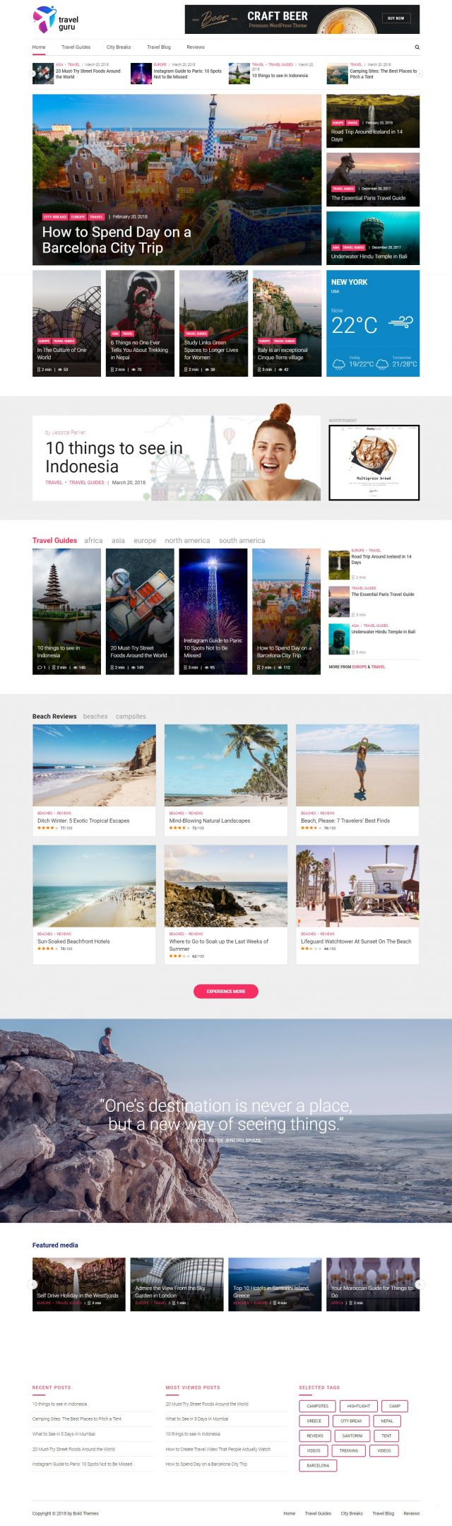 newstar wordpress theme travel magazine homepage layout