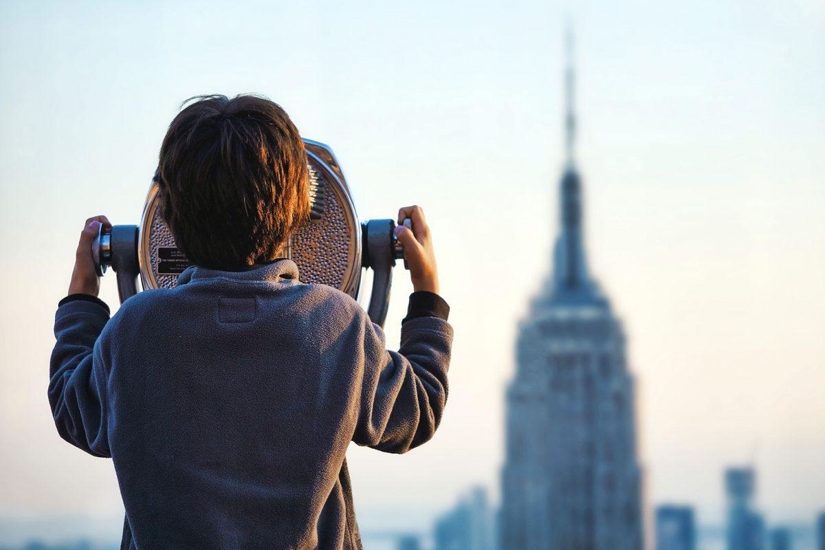 Tourist Telescope with New York Skyline
