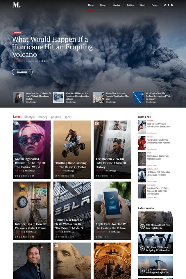 news and magazine wordpress theme NewStar homepage layout magazine