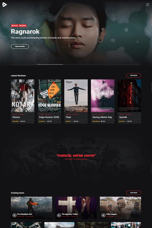news and magazine wordpress theme NewStar homepage layout movie review