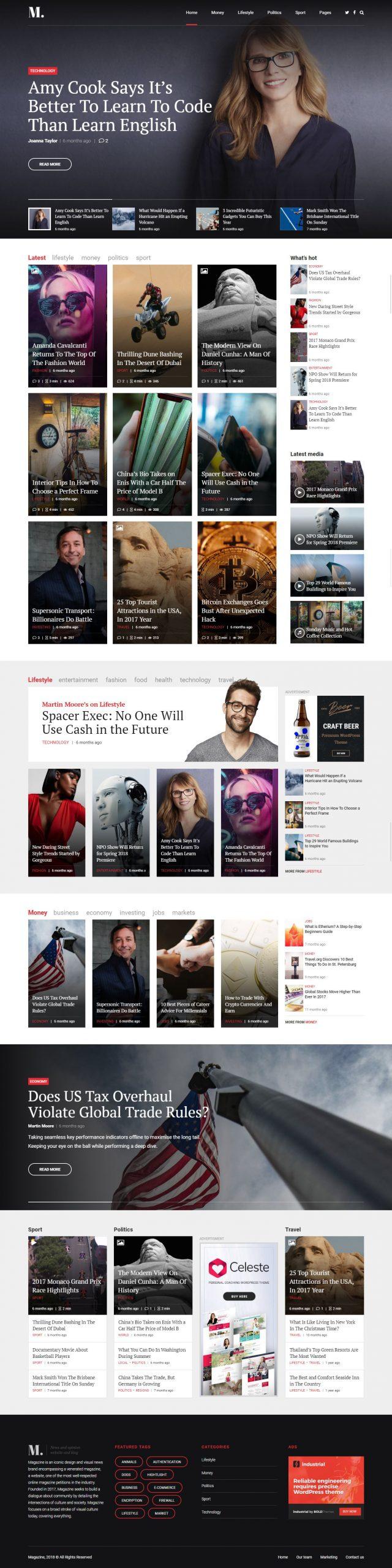 newstar wordpress theme magazine homepage layout 1