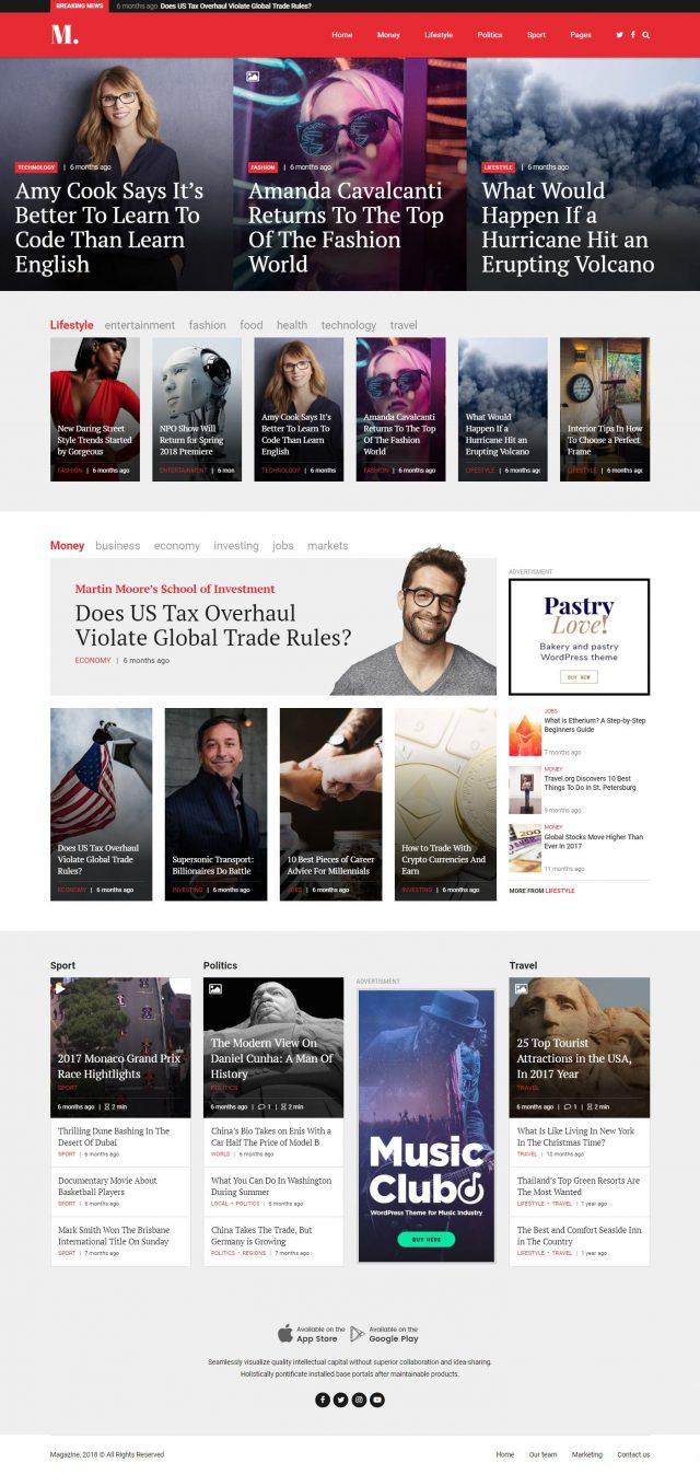 newstar wordpress theme magazine homepage layout 2