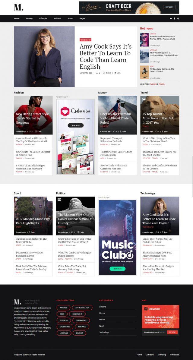 newstar wordpress theme magazine homepage layout 3