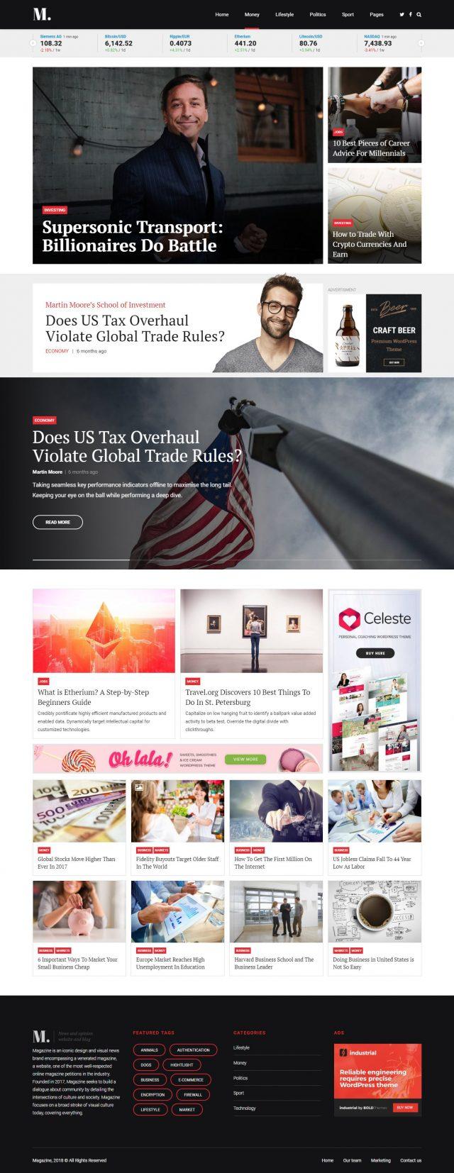 newstar wordpress theme business magazine homepage layout