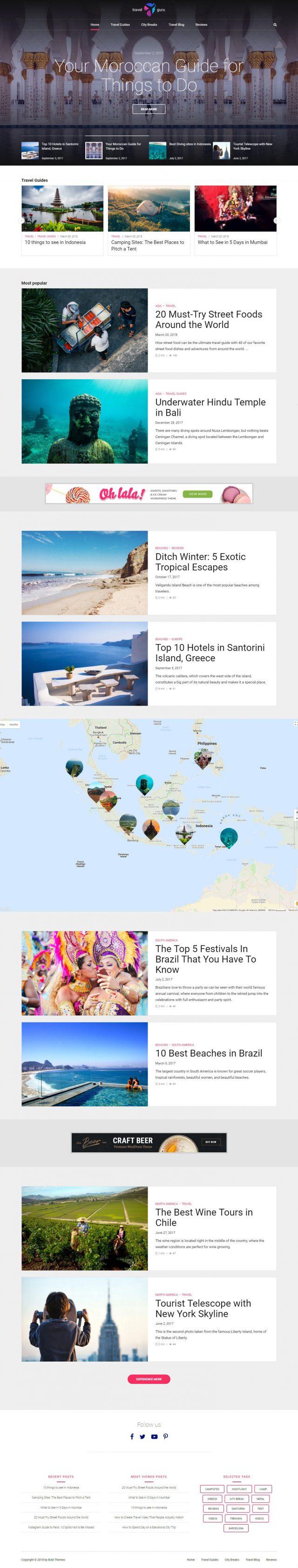 newstar wordpress theme travel homepage layout